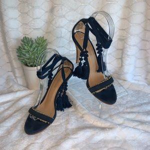 Ulla Johnson Danielle Tassel Wrap blue suede heels